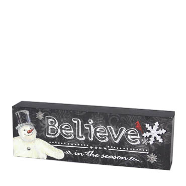 Young's inc. Believe in the Season Snowman Wooden Sign