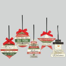 Young's Inc. Christmas Wishes Wooden Ornament (Assorted)