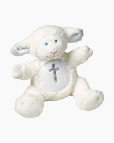 Christening Lamb White Plush Rattle