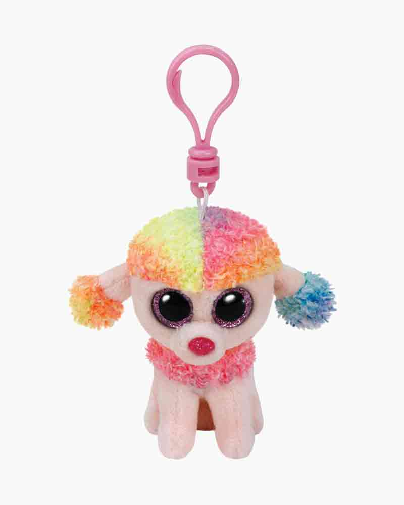 Ty Rainbow the Multi Color Poodle Beanie Boo's Plush Clip