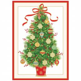 Caspari Christmas Tree with Ornaments Boxed Cards