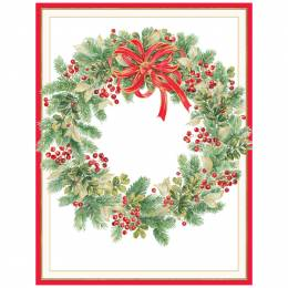 Caspari Wintergreen Wreath Boxed Cards