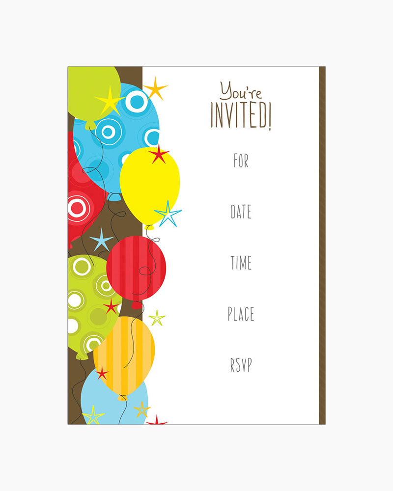Gina B Designs Balloons and Stars Fill-In Party Invitations