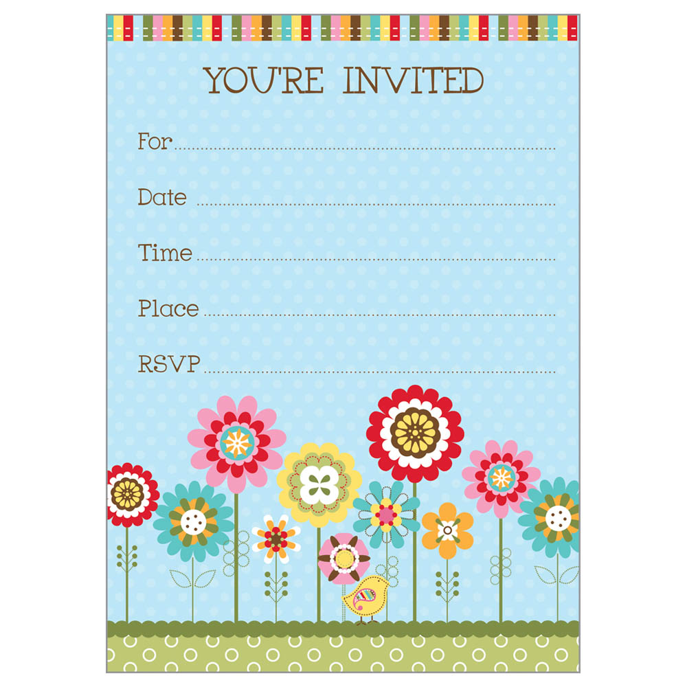 Gina B Designs Row Flowers and Bird Fill-In Party Invitations