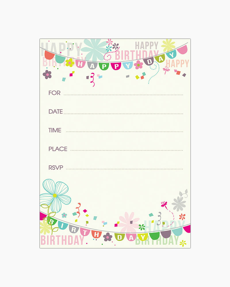 Gina B Designs Birthday Banners Fill-In Birthday Invitations