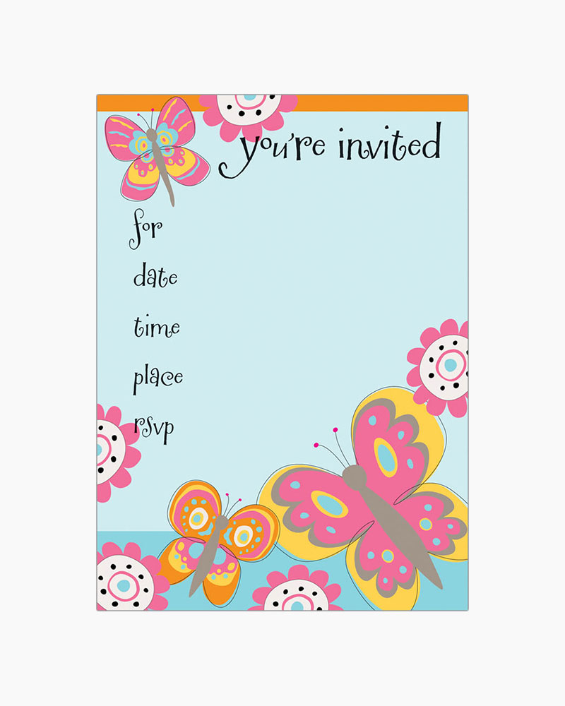 Gina B Designs Pink and Orange Butterfly Fill-In Party Invitations