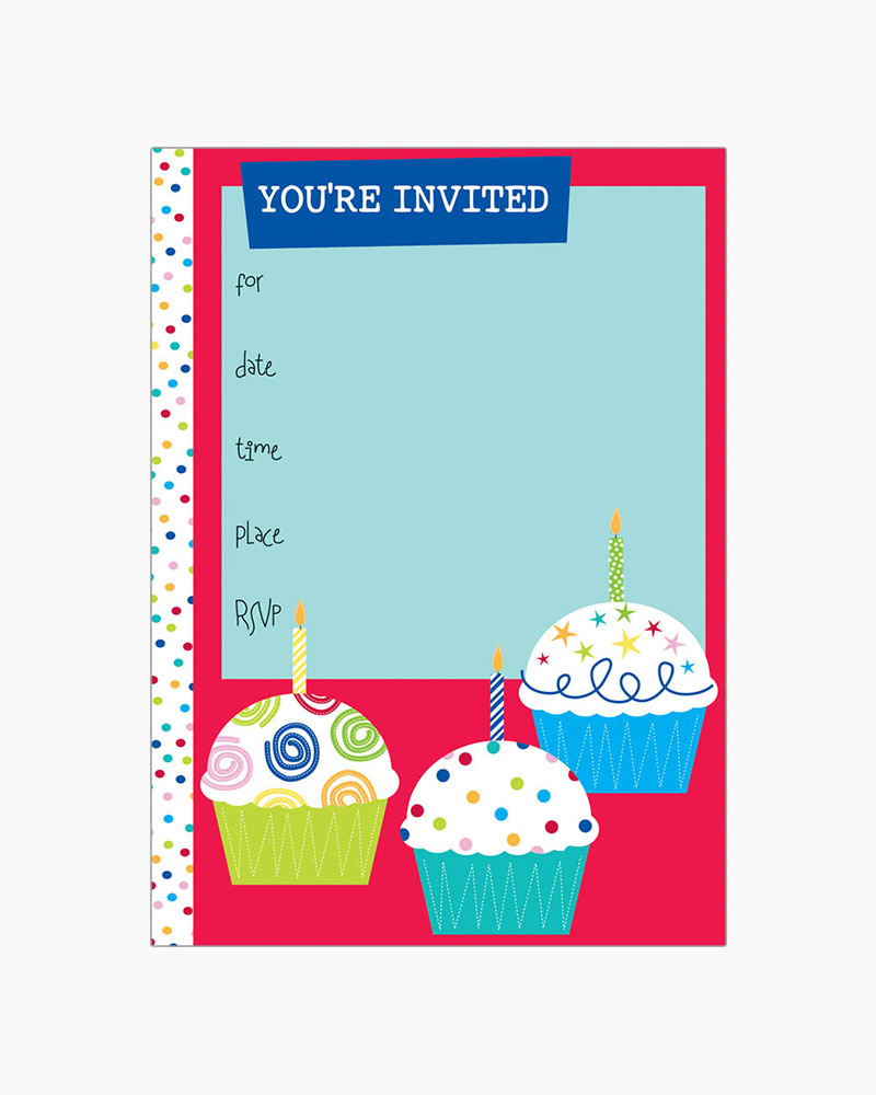 Gina B Designs 3 Cupcakes Fill-In Party Invitations