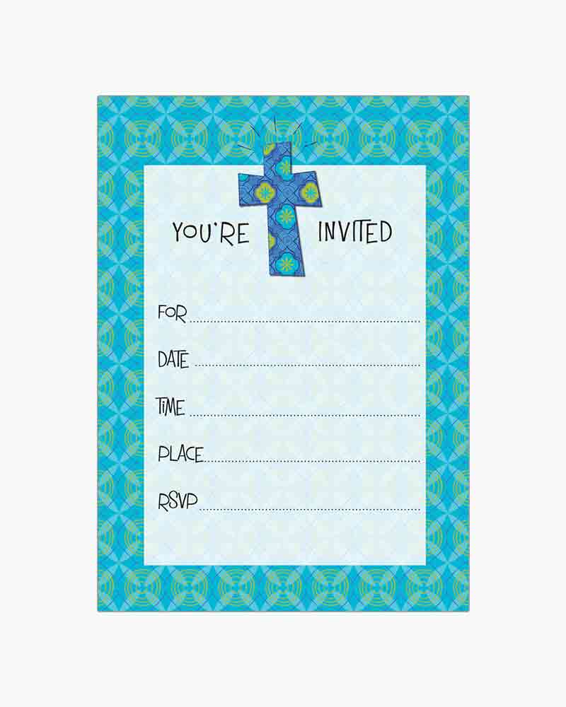 Gina B Designs Teal Pattern Cross Fill-In Religious Invitations