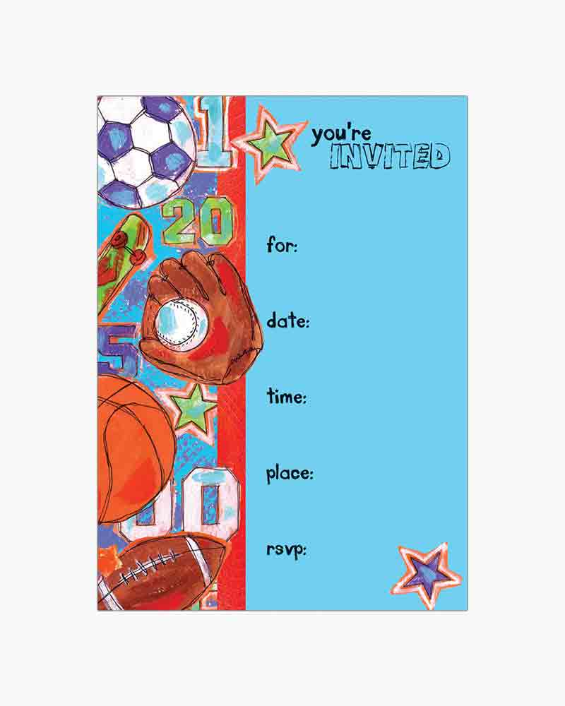 Gina B Designs Sports Fill-In Party Cards