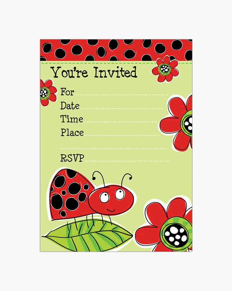 Gina B Designs Ladybug Fill-In Party Invitations