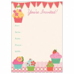 Gina B Designs Fancy Cupcakes Fill-In Party Invitations