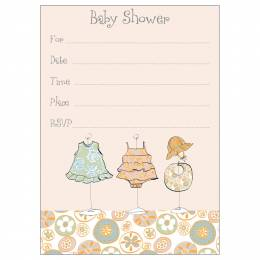Gina B Designs Girl Baby Clothes Fill-In Baby Shower Invitations
