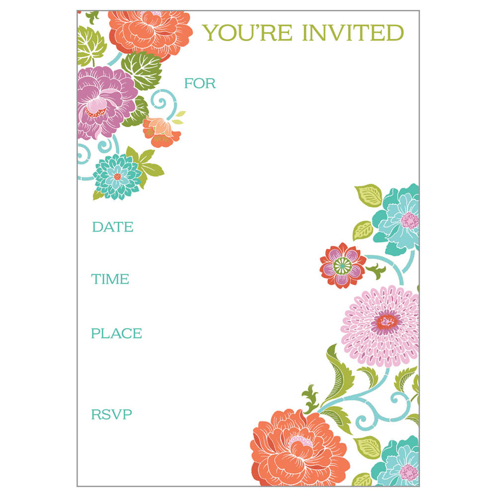 Gina B Designs Orange and Teal Flowers Fill-In Party Invitations