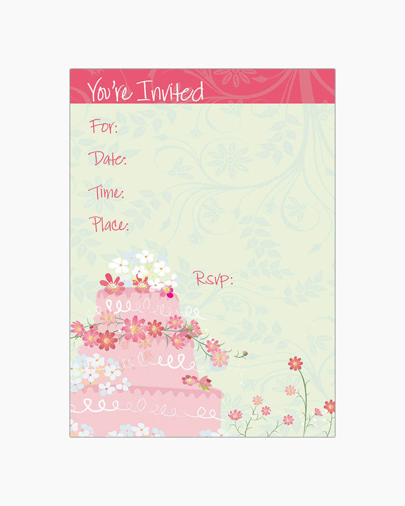 Gina B Designs Pink Tier Cake Fill-In Bridal Shower Invitations