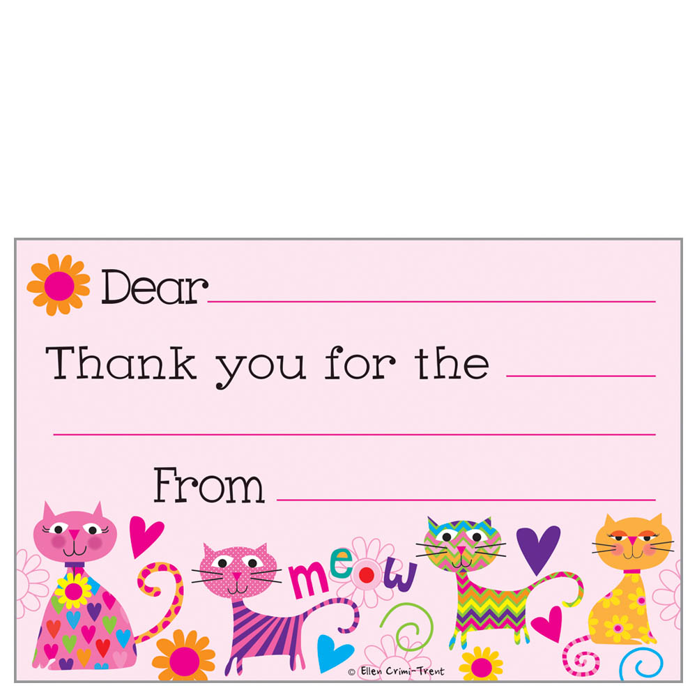 Gina B Designs Cats Kids Fill-In Thank You Cards