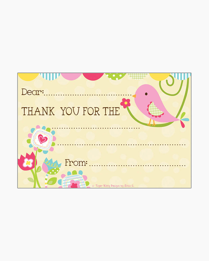 Gina B Designs Cute Pink Bird Kids Fill-In Thank You Cards