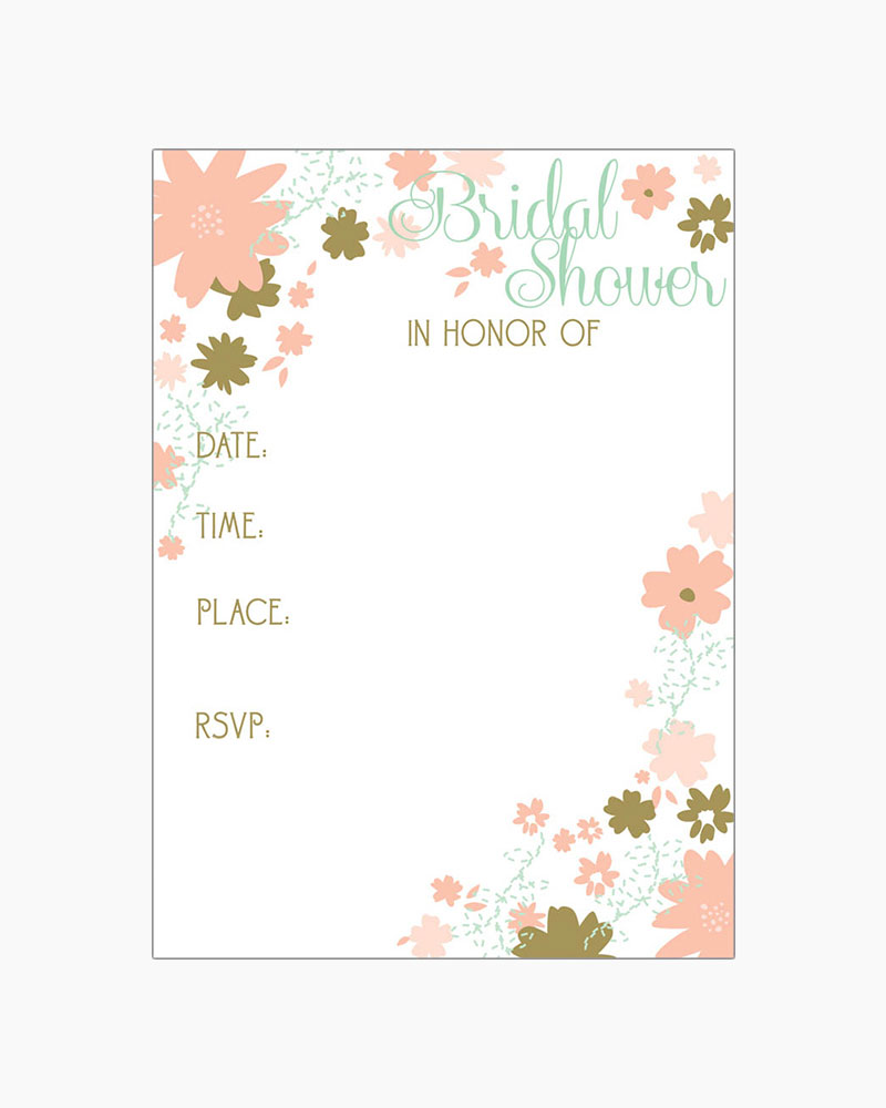Gina B Designs Mint and Gold Floral Fill-In Bridal Shower Invitations