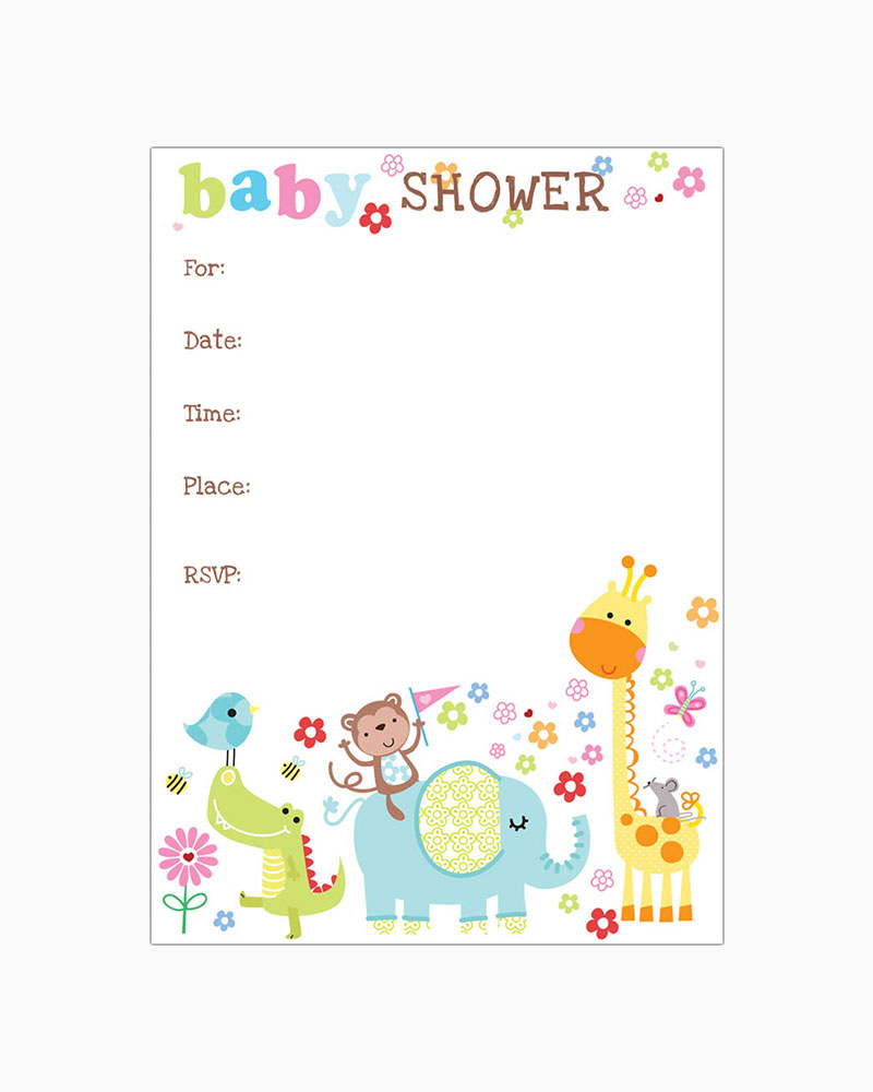 Gina B Designs Cute Baby Animals Fill-In Baby Shower Invitations