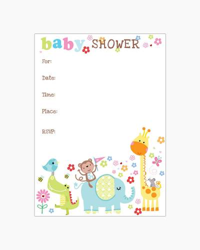 Cute Baby Animals Fill-In Baby Shower Invitations
