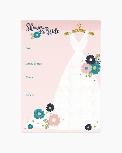 Wedding Dress Fill-In Bridal Shower Invitation