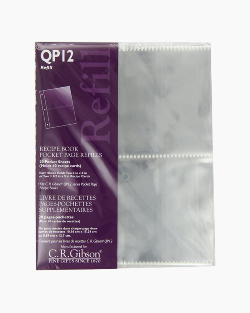 C.R Gibson QP-12 Small Recipe Book Pocket Page Refill 20 Sheets /… QP12-2PK Pack of 2