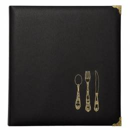 C.R. Gibson Leatherette Recipe Binder in Black