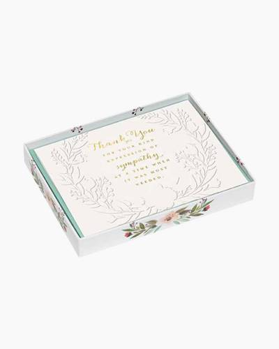 Watercolor Wreath Sympathy Acknowledgment Boxed Notes