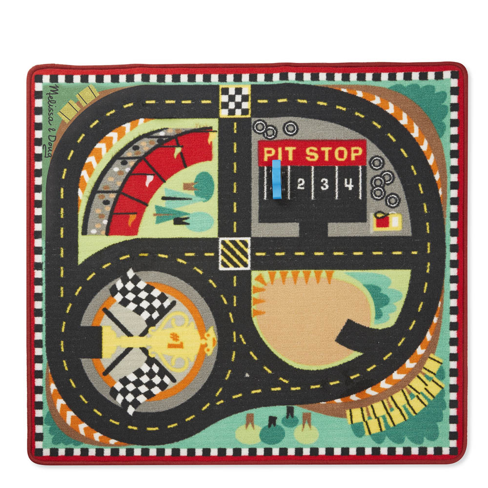 Melissa and Doug Round the Speedway Race Track Rug and Car Set