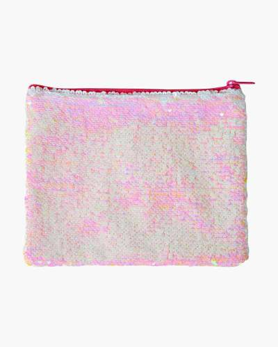 Iridescent Pink Sequin Zipped Pouch