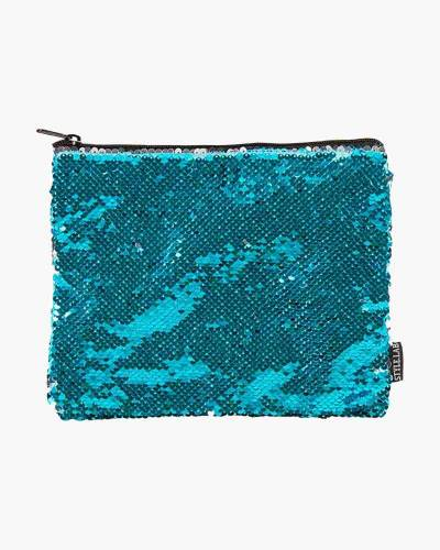 Turquoise Sequin Zipped Pouch