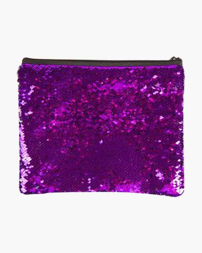 Dark Purple and Silver Sequin Zipped Pouch