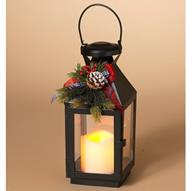 The Gerson Company LED Lantern with Pinecone