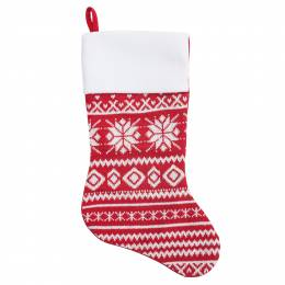 Gerson Knitted Snowflake Stocking with Fleece Cuff