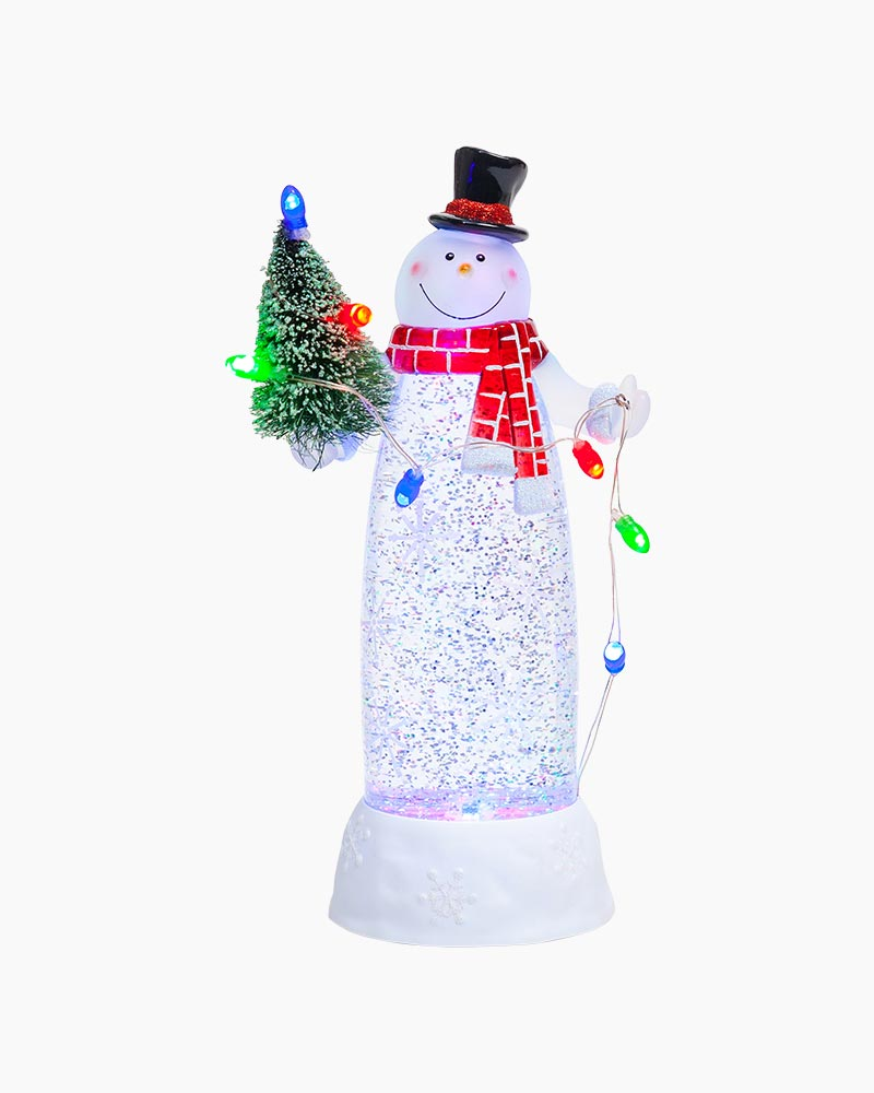 Color-Changing Glitter Snowman Figurine