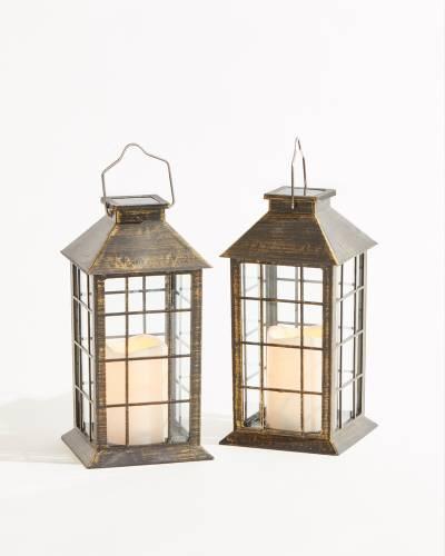 Finish Solar Plastic Lanterns (Set of Two)