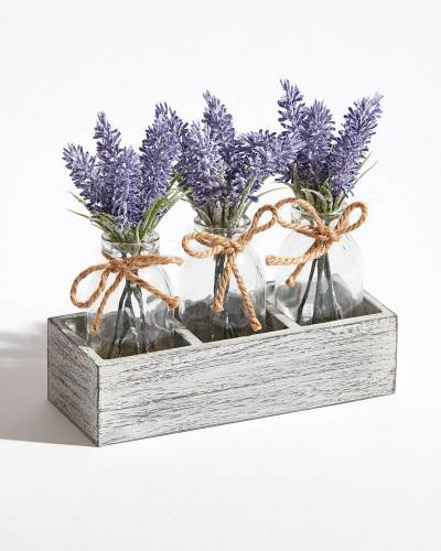 Decorative Bottles of Lavender in Box Caddy