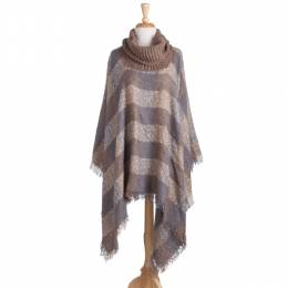 Gena Accessories Plaid Cowl Neck Poncho