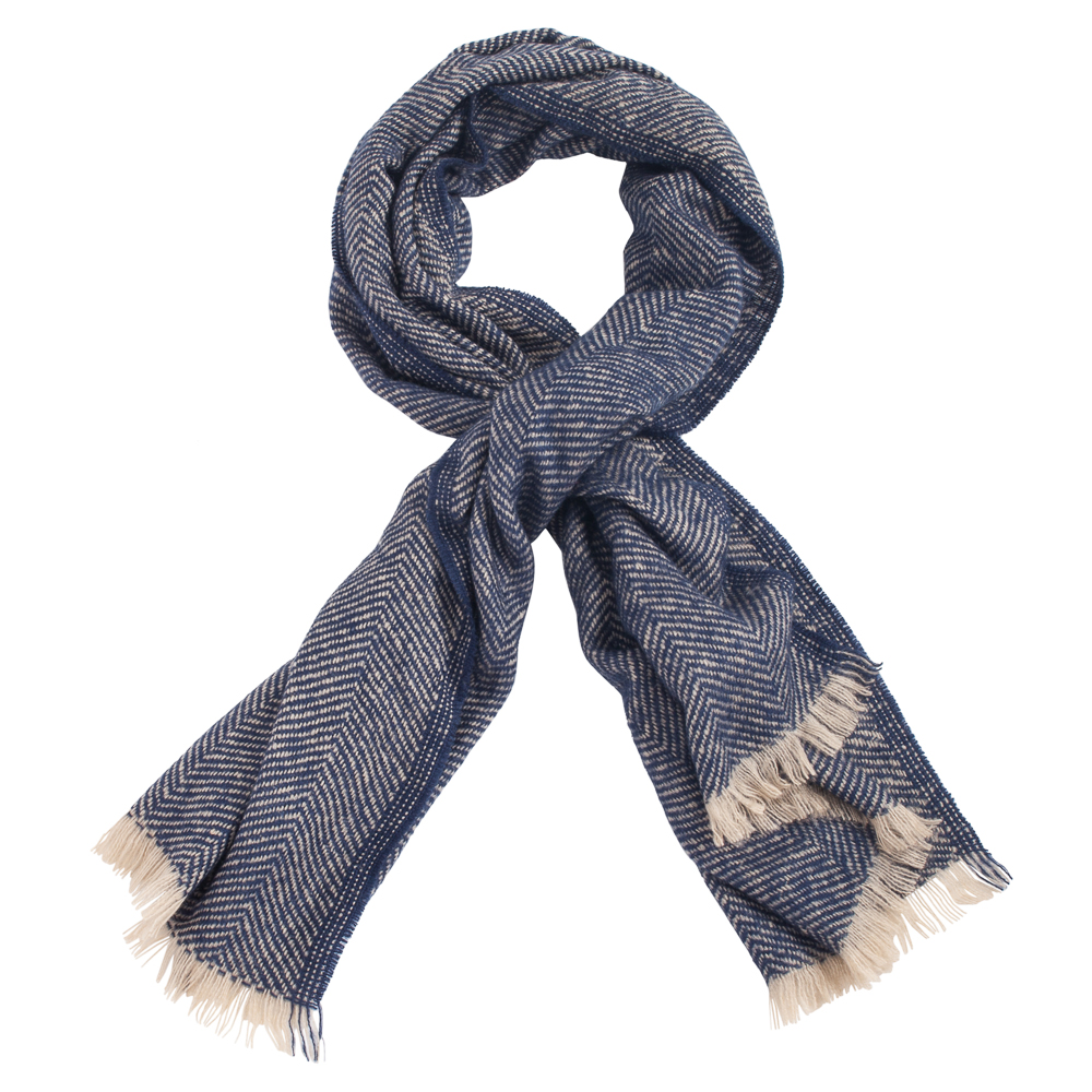 Gena Accessories Herringbone Scarf in Navy Blue