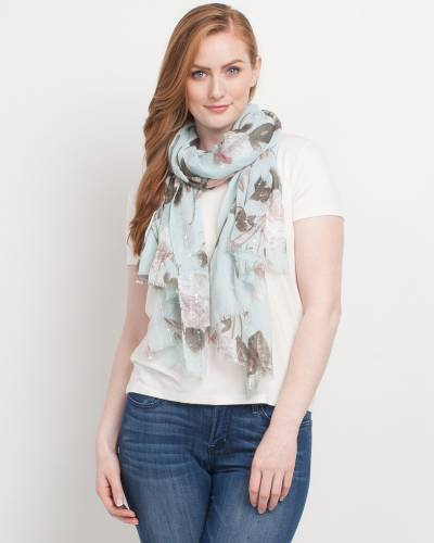 Exclusive Floral Print Scarf in Mint