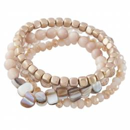The Paper Store Four-Strand Beaded Bracelet in Pink and Gold