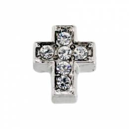 Forever in My Heart Crystal Silver Cross Locket Charm