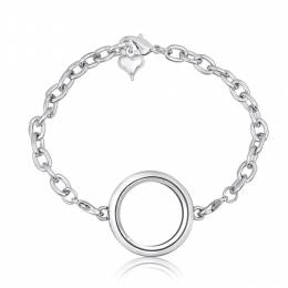 Forever in My Heart Silver Round Locket Bracelet