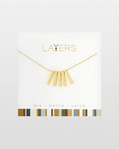 Five Bar Charms Necklace in Gold