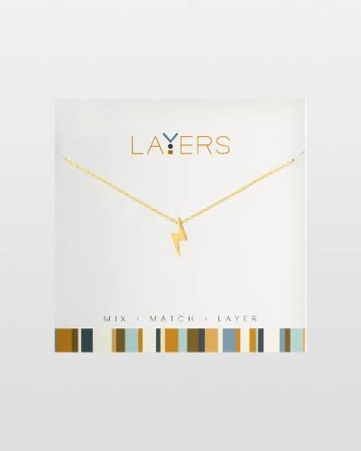 Lightning Bolt Charm Necklace in Gold