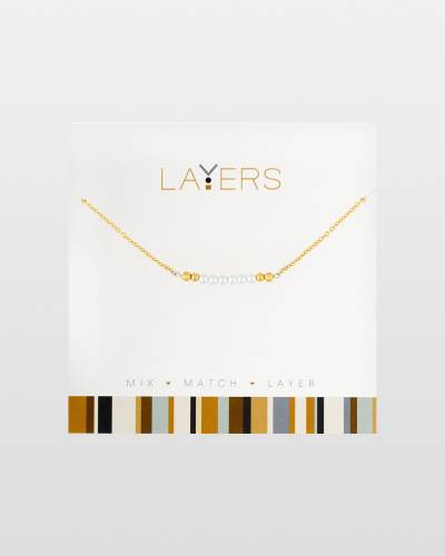 Pearl Bar Charm Necklace in Gold