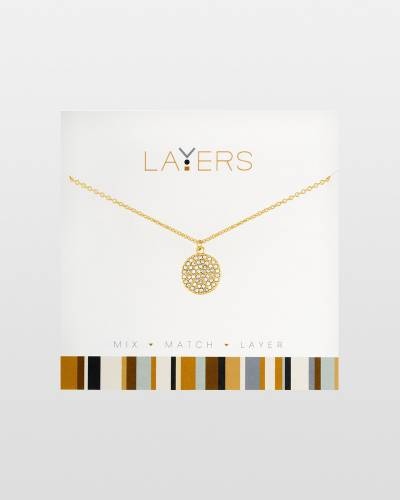 Round CZ Charm Necklace in Gold