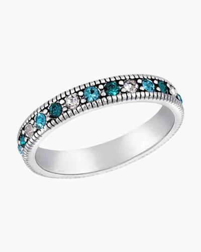 Blue Cubic Zirconia Eternity Ring in Silver