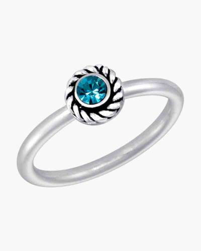 Round Blue Cubic Zirconia Ring in Silver