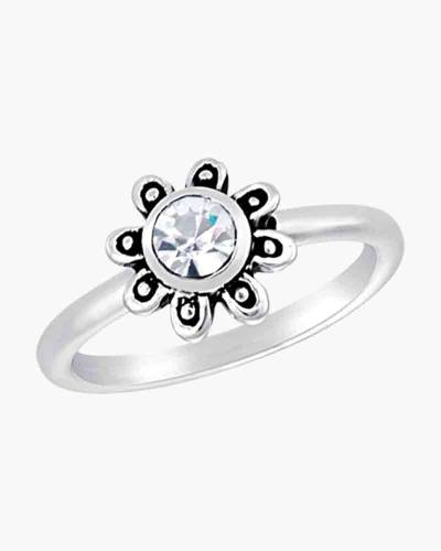 Flower Cubic Zirconia Ring in Silver
