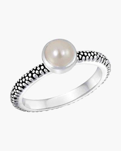 Textured Pearl Ring in Silver